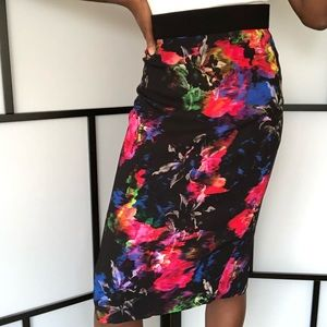 Milly floral midi pencil skirt